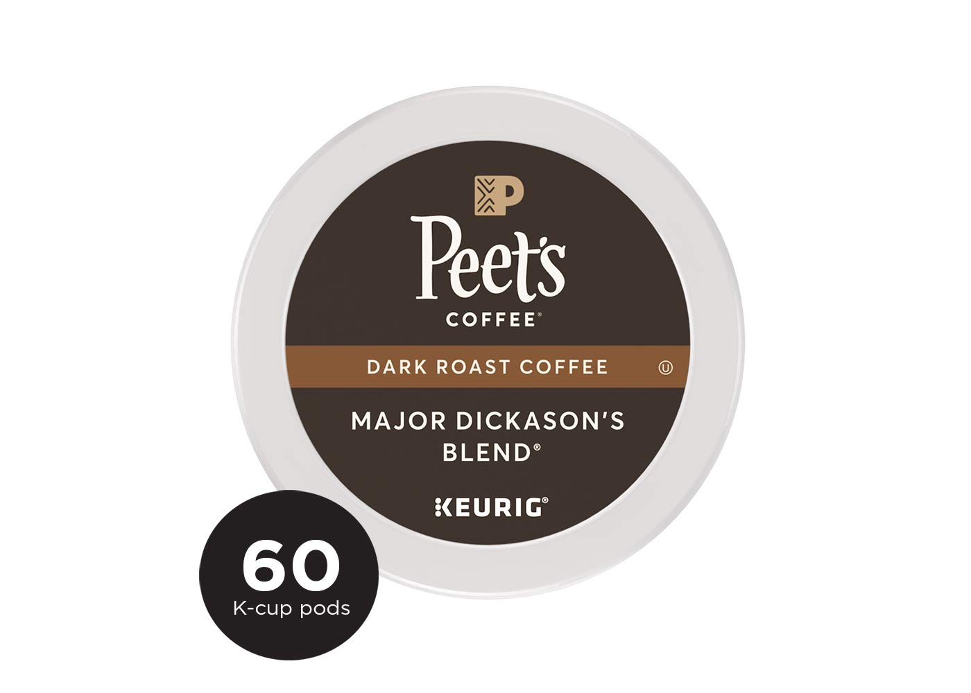 Peet's Coffee Major Dickason's Blend, Dark Roast, 60 Count Single Serve K-Cup Coffee Pods for Keurig Coffee Maker by Peet's Coffee