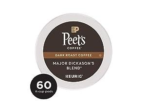 Peet's Coffee Major Dickason's Blend, Dark Roast, 60 Count Single Serve K-Cup Coffee Pods for Keurig Coffee Maker