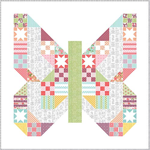 - Lella Boutique Lollipop Garden Butterfly Patch Quilt Kit Moda Fabrics KIT5080