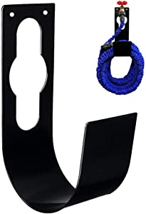 SupKing Sturdy Garden Spigot Hook Hose Holder, Durable Metal Wall Mount Expandable Watering Hose Hanger Hook, Pipe Holder Tidy Hook Reel Tap for 100ft Heavy Garden Irrigation Hose – Black