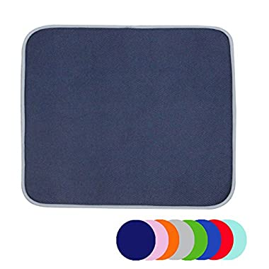 Jovilife Dish Drying Mat Kitchen Mat(set of 2) Microfiber Absorbent Washable, 16*18 Inch, Navy