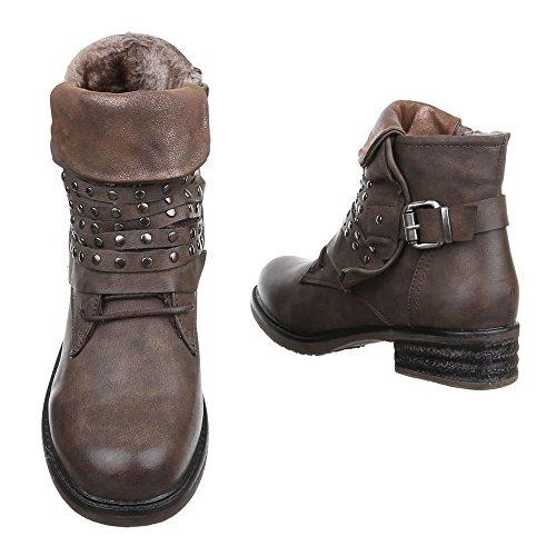 99d2225c41483d ... Damen Boots Schuhe Gefütterte Stiefeletten Mit Nieten Schwarz Braun  Beige Grau Rot 36 37 38 39 ...
