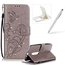 Wallet Case for Moto X Play,Strap Portable Leather Case For Moto X Play,Herzzer Stylish Bling Diamonds Gray Butterfly Embossed Pu Leather Purse Pouch Magnetic Closure Flip Folio Protective Case