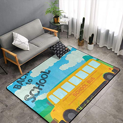 (Memory Foam Kitchen Rug for Living Room Children Bedroom Bedroom, Anti-Slip Backing Floor Mat Doormats Cozy Throw Rugs Runner, Anti Fatigue, Back to School Bus)