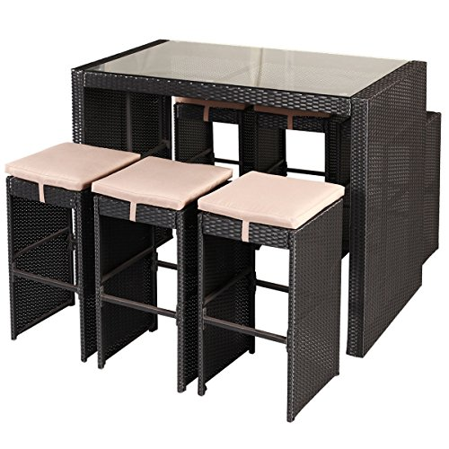 Tangkula 7 PCS Wicker Patio Bar Stool Dining Table Set Outdoor Garden Furniture Sets