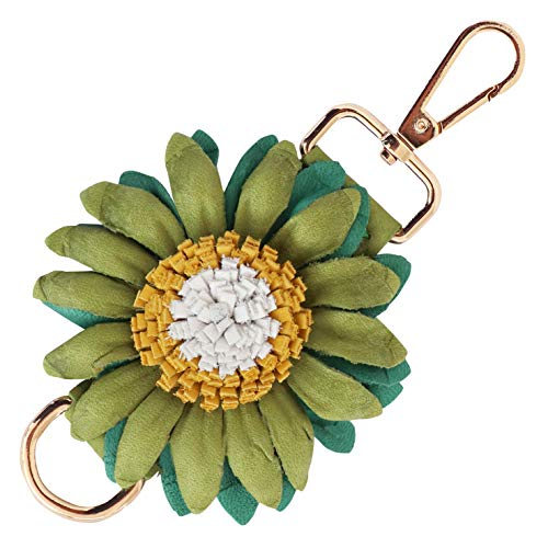 Genuine Leather Handmade Charms | PomPom Keychain | for Tassel Bags Purse Backpack (Green Yellow - Flower)