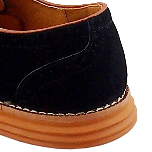 Gleader NUEVOS zapatos de gamuza de cuero de estilo europeo oxfords de los hombres casuales 999 Negro(tamano 47)
