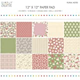 Premium Craft Paperstock Simply Creative Floral Notes 12x12 Scrapbook Papers