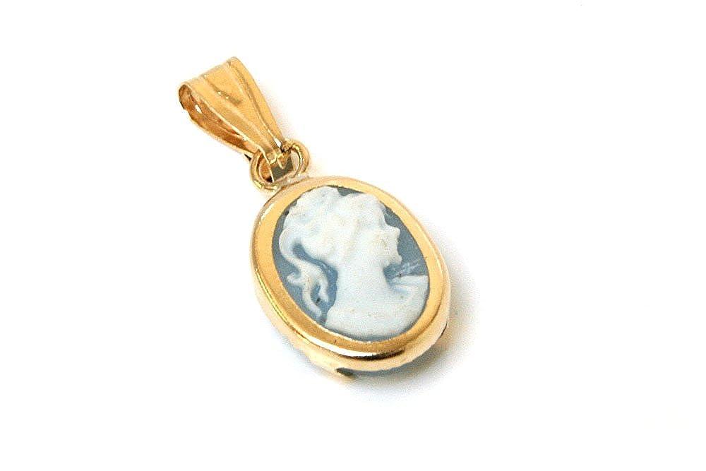 Or 9ct Pendentif Camée ovale Bleu Peninsula Jewellery GP333
