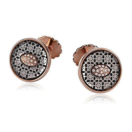 Daesar Jewelry Stainless Steel Round Pattern Zirconia Inlay Rose Gold Mens Cufflinks (Men Inlays Cufflinks)