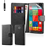 32nd® Book wallet PU leather case cover for Motorola Moto X Play (2015 edition) + screen protector, cleaning cloth and touch stylus - Black