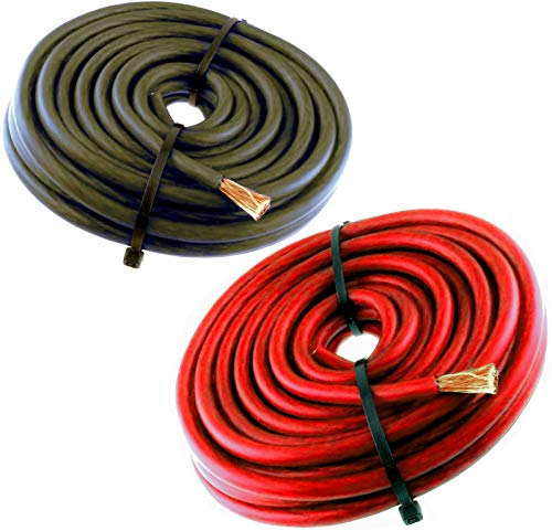 8 Gauge Wire 40 FT AWG 20 FT RED 20 Black Cable Super Flexible Primary Stranded ()