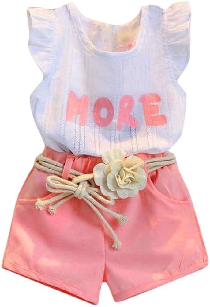 Ropa niña Bebé Chicas Impresión Camiseta sin Mangas + Pantalones Cortos + Cinturón Conjunto de Ropa Trajes 2 Años - 7 Años: Amazon.es: Ropa y accesorios