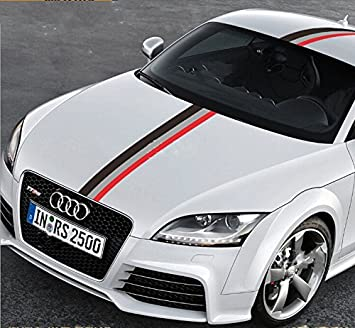 50u0026quot; Audi Sports Racing Stripe Vinyl Car Stickers Decal For Car Engine  Cover, Hood