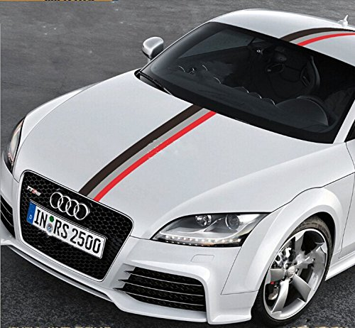 """50"""" Audi Sports Racing Stripe Vinyl Car Stickers Decal for Car Engine Cover, Hood, Roof, Trunk ..."""