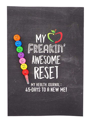 Reset Factor Health Journal, Health Diary with Motivational Quotes and Bonus Emoji Pens
