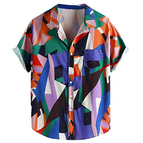 MIUCAT Mens Patchwork Hit Color Printed Turn Down Color Short Sleeve Casual Shirts Button Down Top Pink