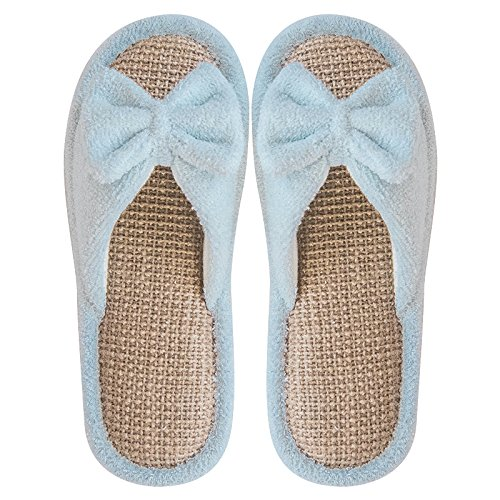 wooden summer floor stay thick slippers female fankou with slip 39 lovely non A indoor a male blue couples slippers linen light cool Spring and 38 qOfIfEx7