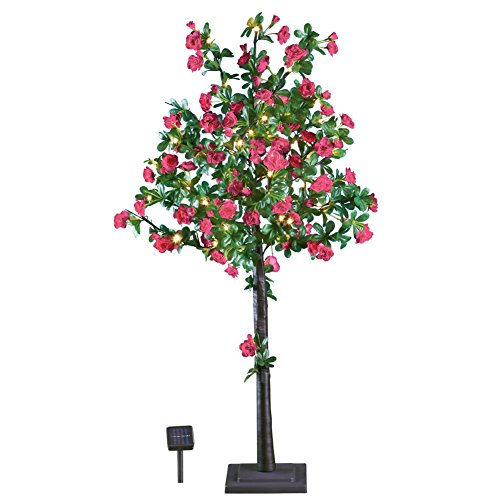 Solar Artificial Pink Rose Plastic