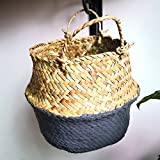 Hot Sale!DEESEE(TM)Seagrass Wicker Basket Wicker Basket Flower Pot Folding Basket Dirty Basket Storage Home Decoration (Gray)