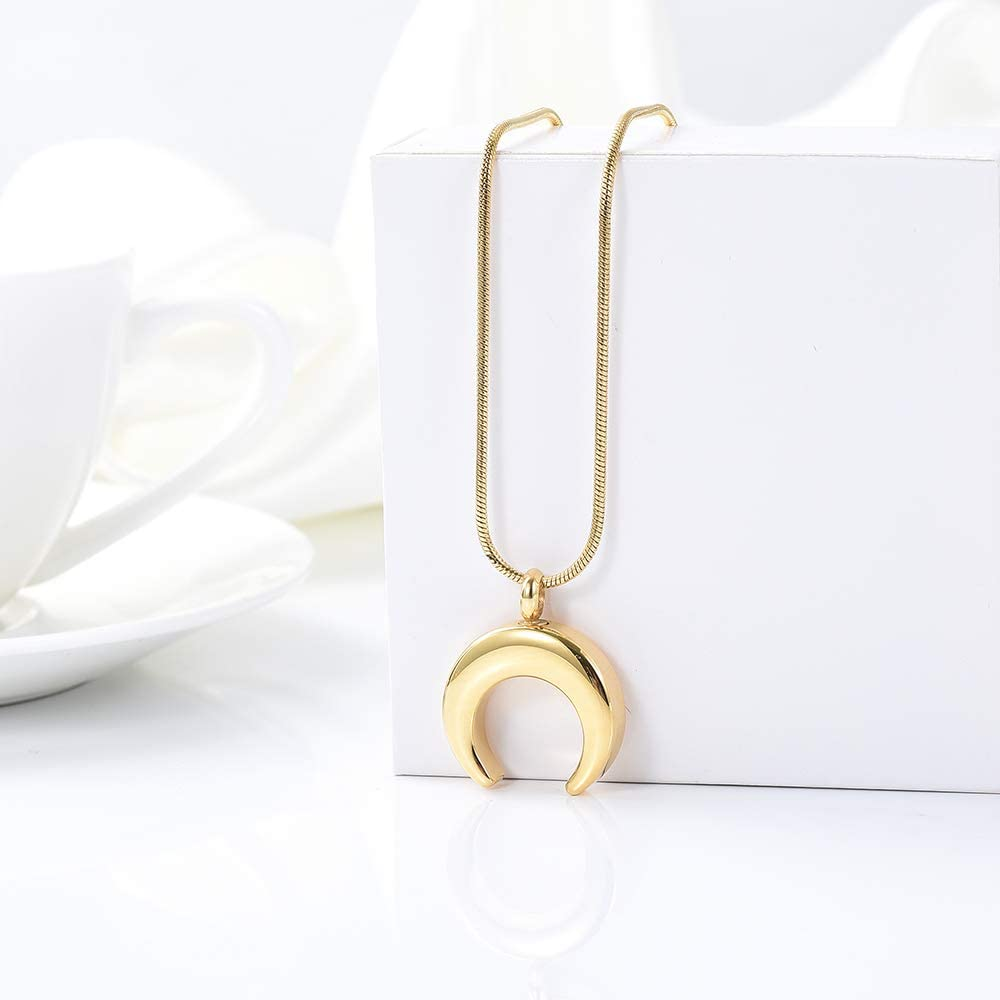 zeqingjw Crescent Moon Cremation Jewelry Memorial Urns Necklace for Ashes Stainless Steel Cremation Keepsake Pendant Ashes for Loved Ones