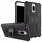 Heartly Huawei Mate 9 Pro Back Cover Kick Stand Rugged Shockproof Tough Hybrid Armor Dual Layer Bumper Case - Matte Black