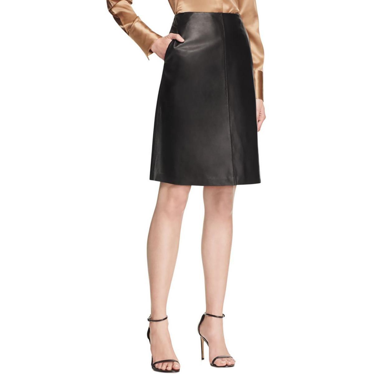 Lafayette 148 Womens Tatiana Leather Lined A-Line Skirt Black 10