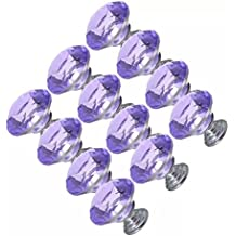 CSKB 12 PCS Purple 30mm Crystal Glass Diamond Cut Door Knob Drawer Cabinet Furniture Handle for Cupboard, Kitchen and Bathroom Cabinets, Shutters, etc