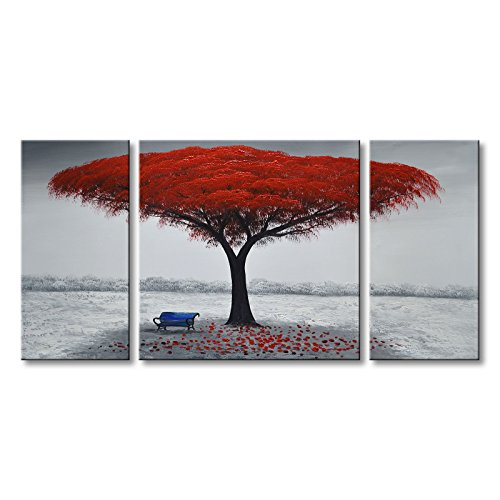 Winpeak Art Chair Under Red Tree Hand-painted Modern Large Oil Painting Landscape Canvas Wall Art Abstract Picture Contemporary Artwork by Winpeak Art