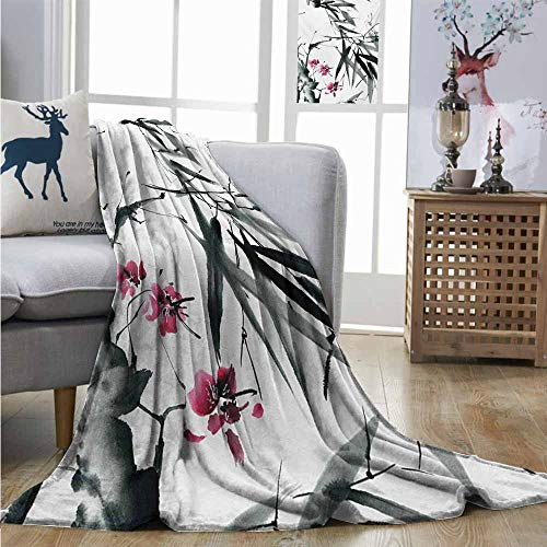 Homrkey Cozy Blanket Japanese Natural Sacred Bamboo Stems Cherry Blossom Japanese Inspired Folk Print Charisma Blanket W54 xL84 Dark Green Fuchsia ()