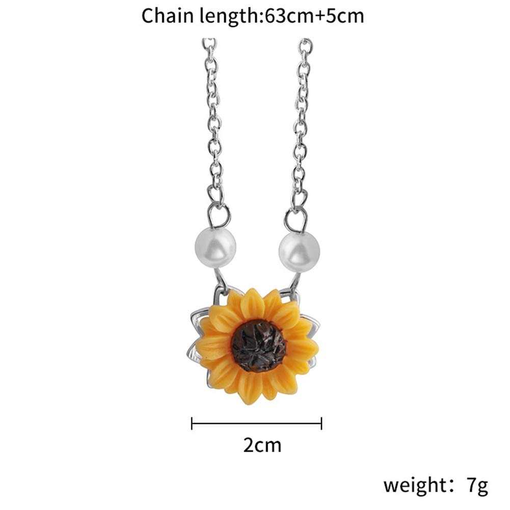 MTRSUE Sunflower Pearl Leaf Chain Resin Boho Handmade Drop Pendant Choker Necklace Plated Silver JIOPLKJ-003349844