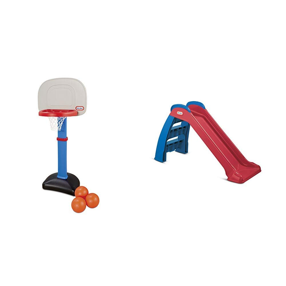 Little Tikes Easy Score Basketball Set (Blue, 3-Balls) and First Slide (Red/Blue) - Bundle by Little Tikes