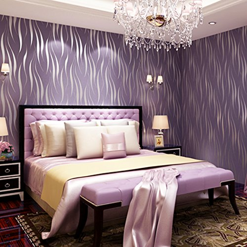 Bedroom wallpaper,Jingjing1Modern Non-Woven 3D Wave Pattern Environmental Protection Wallpaper Bricks for Living room, Bedroom and TV Background (Purple)