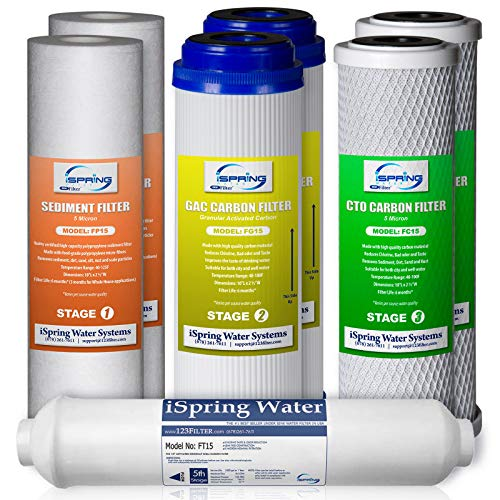 iSpring F7-GAC 1-Year Replacement Supply Filter Cartridge Pack Set for Standard 5-Stage Reverse Osmosis RO Systems