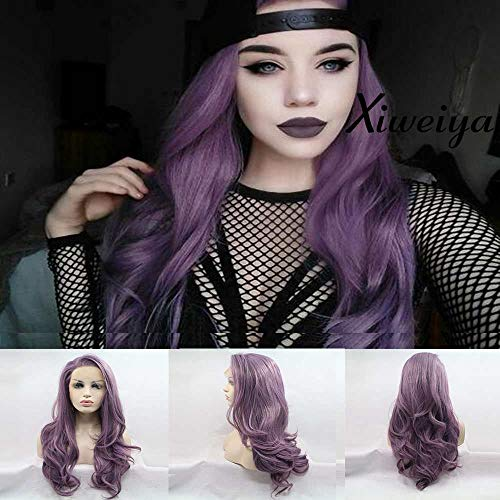 Graceful Mix - Xiweiya Heat resistant synthetic wig Graceful long mix color purple white drag queen mermaid synthetic lace front wig free part hair replacement wig long purple wig soft wig