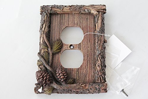 Pinecone Double Outlet - Pine Cone Switch Rocker Plate Covers Electric Outlet Plate Pine Wood Cabin Lodge Decor (electric outlet)