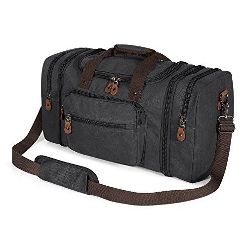 Plambag Canvas Duffle Bag for Travel, Oversized Duffel Overnight Weekend Bag(Dark Gray) ()