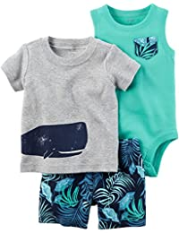 Baby Boys' 3-Piece Bodysuit and Printed Short Set