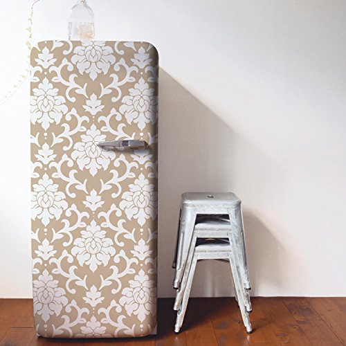 RoomMates RMK9113WP Damask Peel & Stick Wallpaper, Gold - Damask Vinyl Wallpaper