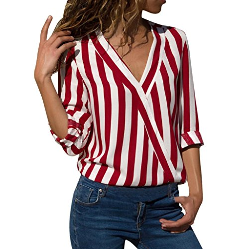 iYYVV Women Ladies Striped Long Sleeve Irregular Work Office Blouse Top Tee -