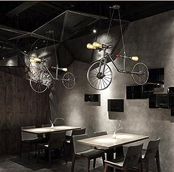 Creativa Industrial Estilo Retro Bicicleta Hierro Lámpara colgante ...