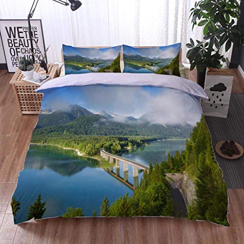 - VROSELV-HOME Modern Pattern Printed Duvet Cover,Lake Sylvester Sylvensteinspeicher in Springtime,Soft,Breathable,Hypoallergenic,Soft Microfiber Bedspread Coverlet Bedding