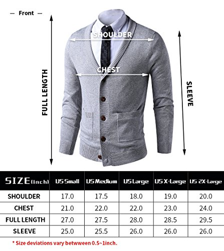 LTIFONE Mens Slim Fit Soft Cable Knit Shawl Collar Button Down Cardigan Sweater Ribbing Edge(Grey,M) by LTIFONE (Image #5)