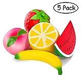 Toys : 5pcs Jumbo Squishies Slow Rising Strawberry Watermelon Banana Peach Lemon Fruit Squishies Kawaii Scented Charms Hand Wrist Toys