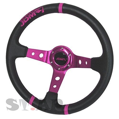 350mm Deep Dish Steering Wheel 6 Bolt Universal Custom (Purple center JDM 3 Ring) Boss Jdm Racing Steering Wheel