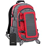 ECEEN 7Watts Solar Backpack, Power Bag Pack, Solar Charger With 10000mAh Power Bank for iPhone, iPad, iPod, Samsung Galaxy Series Phones and Tablets, Gopro Camera, GPS, eBooks, Speakers, Etc. Many Other's 5V-Device (Red)