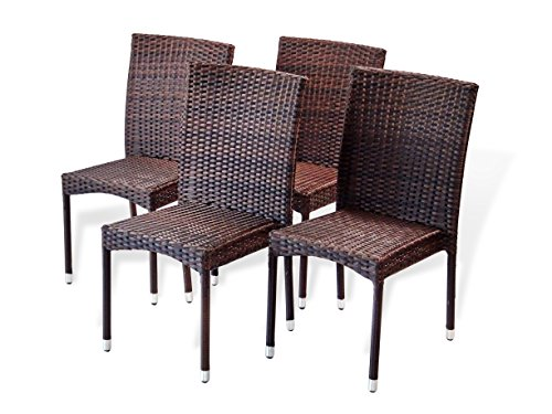 SunBear Furniture Set of 4 Patio Resin Outdoor Wicker Side Chairs Garden Deck Backyard, Dark Brown