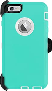 iPhone 6 Plus Case,iPhone 6S Plus Case [Heavy Duty] AICase Built-in Screen Protector Tough 4 in 1 Rugged Shockproof Cover for Apple iPhone 6 Plus / 6S Plus (White/Light Blue with Belt Clip)