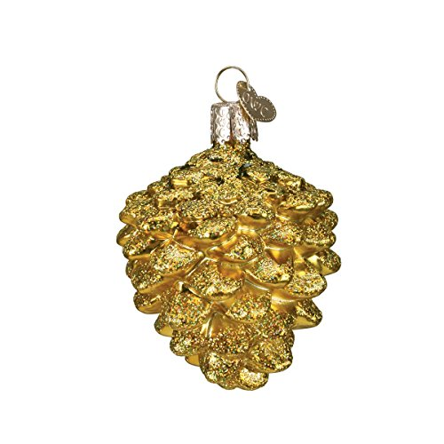Old World Christmas Ornaments: Small Gold Pine Cone Glass Blown Ornaments for Christmas Tree (48018)