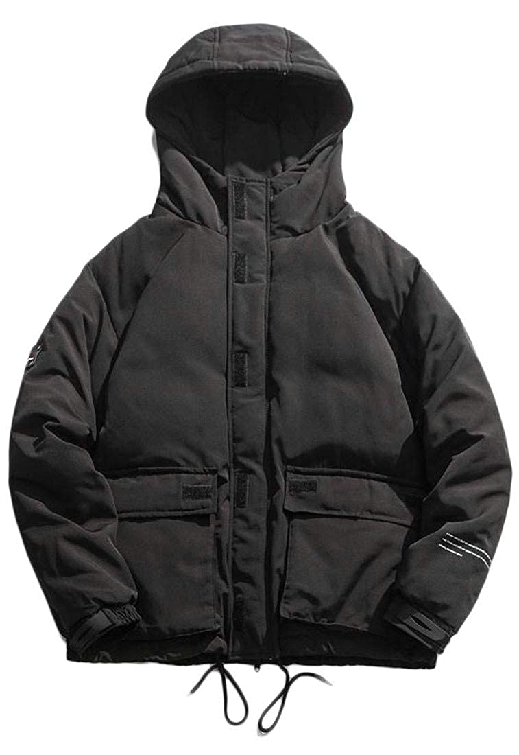 Sayhi Mens Winter Thick Plus Size Hooded Packable Down Parka Coat Jacket